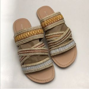 Maurice's Tan Strappy Beaded Sandals